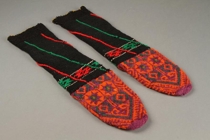 2017.609.9 a-b top Pair of wool mid-calf socks worn by a Yugoslavian man