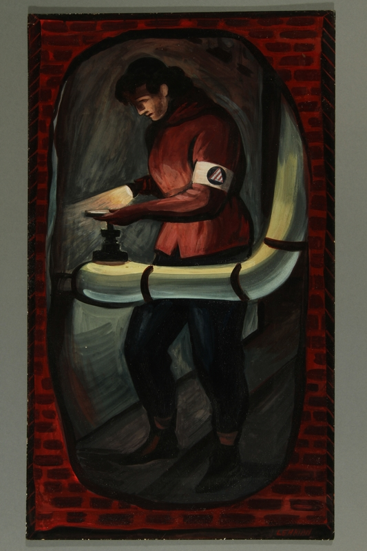 2015.609.1 front Painting of a Civil Defense Worker turning a pipe valve