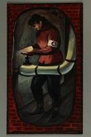 2015.609.1 front Painting of a Civil Defense Worker turning a pipe valve  Click to enlarge
