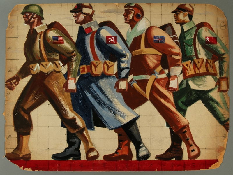 2015.609.2 front Painted gouache study of four allied soldiers standing in line for a United Front Parade float