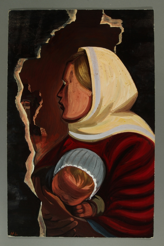 2015.609.3 front Propaganda painting of a woman and baby promoting sympathy for the Soviet Union