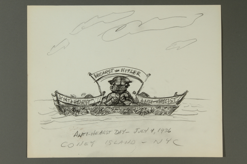 2015.609.5 front Pencil caricature of William Randolph Hearst and Adolf Hitler in a boat for Anti-Hearst Day