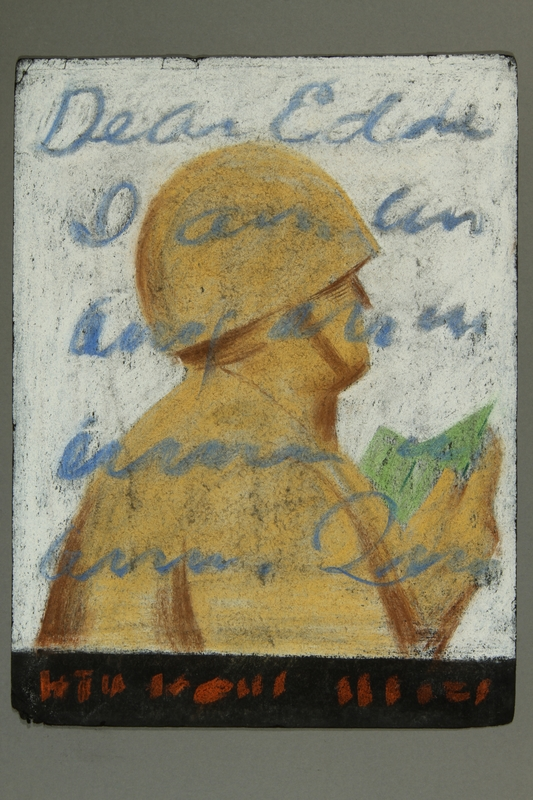 2015.609.6 front Pastel drawing of a soldier reading a letter