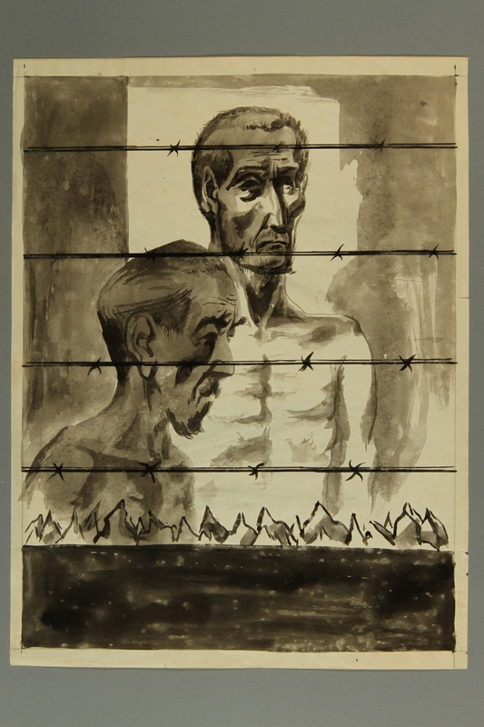 2015.609.8 front Painting of two concentration camp inmates standing behind a barbed wire fence