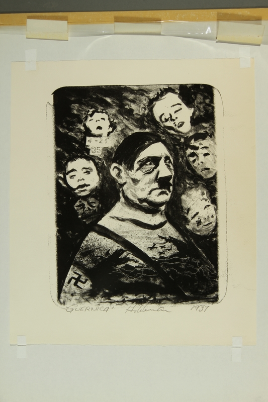 2015.609.9 front Anti-Nazi lithograph featuring Hitler surrounded by children's faces