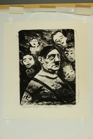 2015.609.9 front Anti-Nazi lithograph featuring Hitler surrounded by children's faces  Click to enlarge