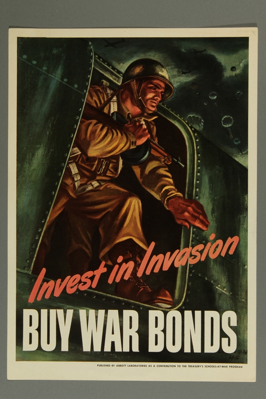 2015.609.10 front American war bond propaganda poster featuring a paratrooper jumping from a plane