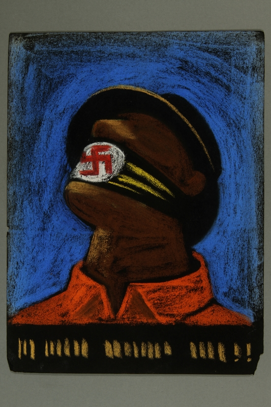 2015.609.12 front Anti-Nazi pastel drawing of a gagged man