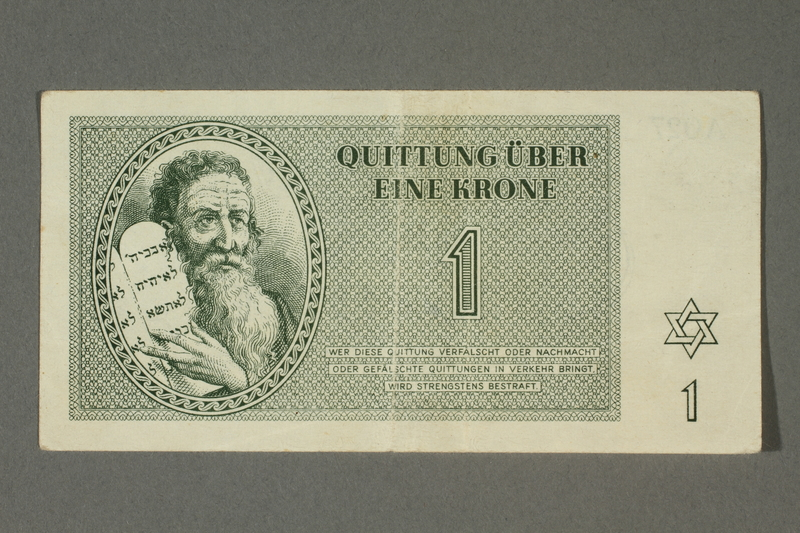 2018.70.8 front Theresienstadt ghetto-labor camp scrip, 1 krone note issued to a German Jewish inmate