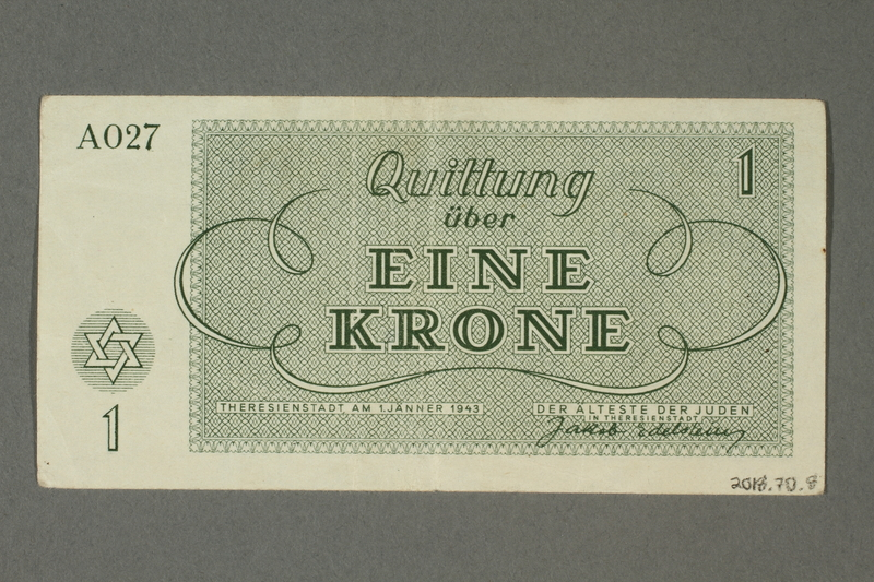 2018.70.8 back Theresienstadt ghetto-labor camp scrip, 1 krone note issued to a German Jewish inmate