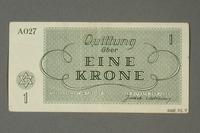 2018.70.8 back Theresienstadt ghetto-labor camp scrip, 1 krone note issued to a German Jewish inmate  Click to enlarge