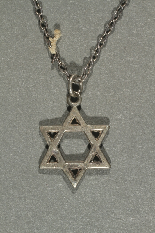 2018.70.6 front Star of David pendant and chain worn by a German Jewish woman