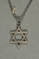 2018.70.6 front Star of David pendant and chain worn by a German Jewish woman  Click to enlarge