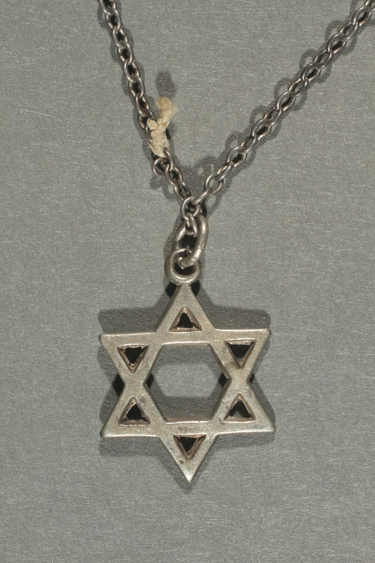 2018.70.6 back Star of David pendant and chain worn by a German Jewish woman