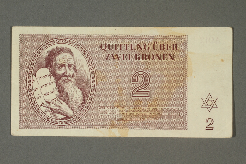 2018.70.9 front Theresienstadt ghetto-labor camp scrip, 2 kronen note, issued to a German Jewish inmate