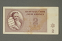 Theresienstadt ghetto-labor camp scrip, 2 kronen note, issued to a German Jewish inmate