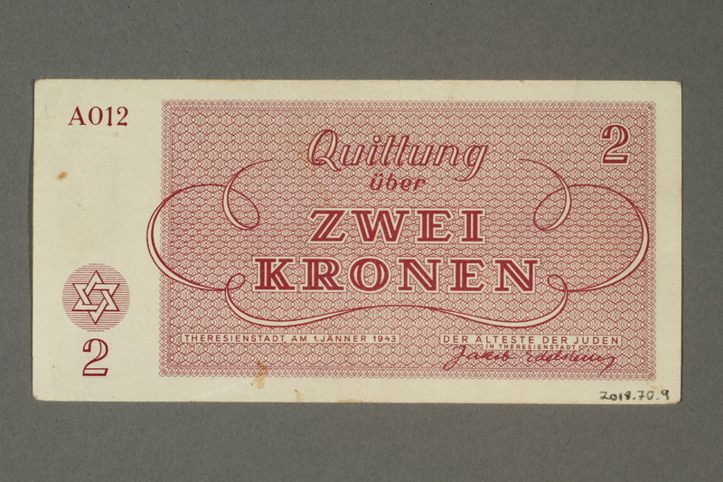2018.70.9 back Theresienstadt ghetto-labor camp scrip, 2 kronen note, issued to a German Jewish inmate