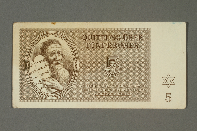 2018.70.10 front Theresienstadt ghetto-labor camp scrip, 5 kronen note, issued to a German Jewish inmate