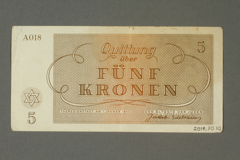 2018.70.10 back Theresienstadt ghetto-labor camp scrip, 5 kronen note, issued to a German Jewish inmate