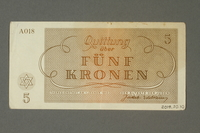 2018.70.10 back Theresienstadt ghetto-labor camp scrip, 5 kronen note, issued to a German Jewish inmate  Click to enlarge