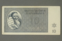Theresienstadt ghetto-labor camp scrip, 10 kronen note, issued to a German Jewish inmate