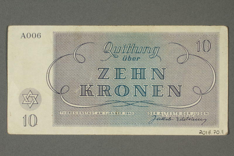 2018.70.11 back Theresienstadt ghetto-labor camp scrip, 10 kronen note, issued to a German Jewish inmate