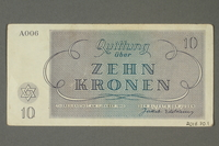 2018.70.11 back Theresienstadt ghetto-labor camp scrip, 10 kronen note, issued to a German Jewish inmate  Click to enlarge