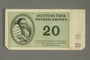 Theresienstadt ghetto-labor camp scrip, 20 kronen note, issued to a German Jewish inmate