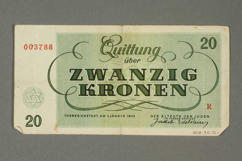 2018.70.12 back Theresienstadt ghetto-labor camp scrip, 20 kronen note, issued to a German Jewish inmate