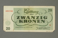 2018.70.12 back Theresienstadt ghetto-labor camp scrip, 20 kronen note, issued to a German Jewish inmate  Click to enlarge