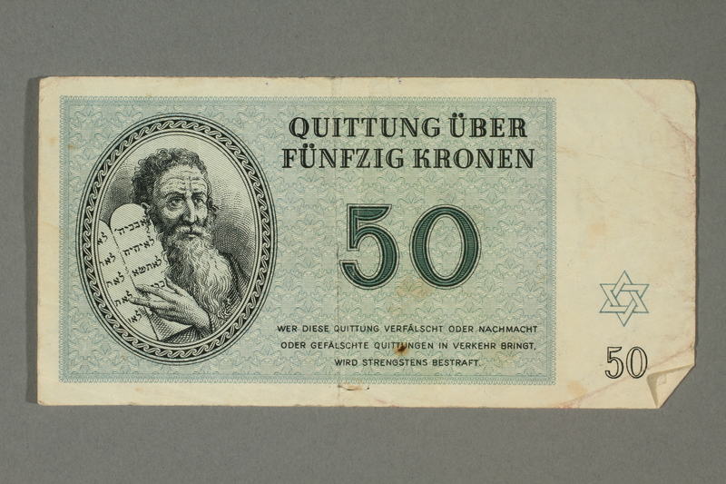 2018.70.13 front Theresienstadt ghetto-labor camp scrip, 50 kronen note, issued to a German Jewish inmate