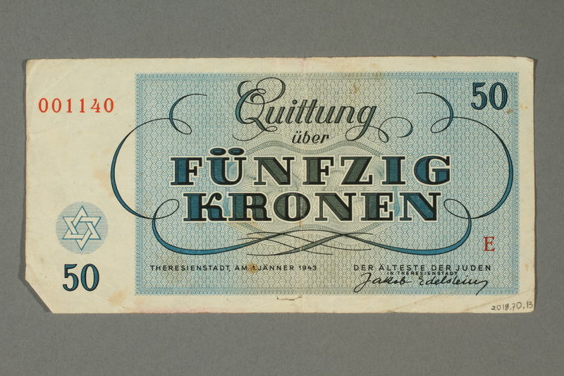 2018.70.13 back Theresienstadt ghetto-labor camp scrip, 50 kronen note, issued to a German Jewish inmate