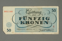 2018.70.13 back Theresienstadt ghetto-labor camp scrip, 50 kronen note, issued to a German Jewish inmate  Click to enlarge