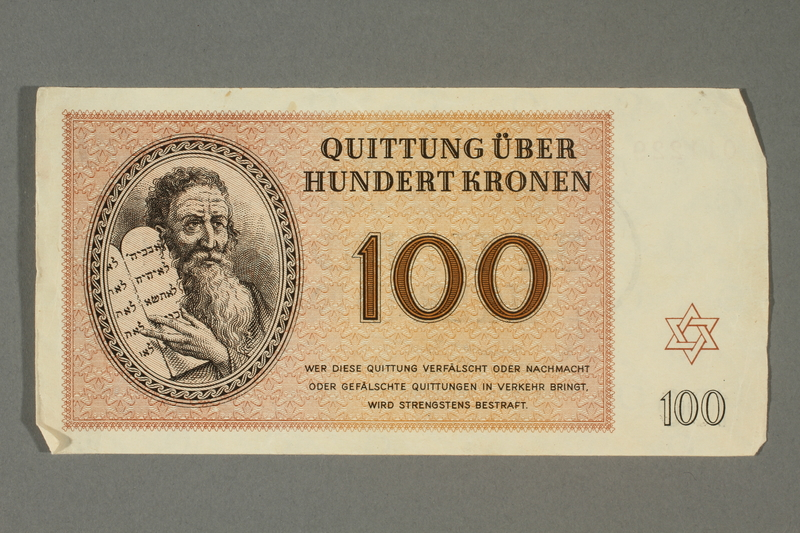 2018.70.14 front Theresienstadt ghetto-labor camp scrip, 100 kronen note, issued to a German Jewish inmate
