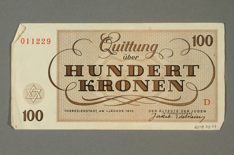 2018.70.14 back Theresienstadt ghetto-labor camp scrip, 100 kronen note, issued to a German Jewish inmate