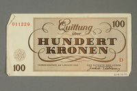 2018.70.14 back Theresienstadt ghetto-labor camp scrip, 100 kronen note, issued to a German Jewish inmate  Click to enlarge