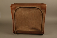 2018.426.2 front Brown cloth and leather trimmed suitcase used by an American internee  Click to enlarge