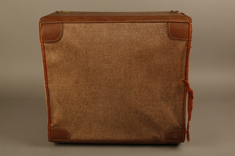 2018.426.2 back Brown cloth and leather trimmed suitcase used by an American internee