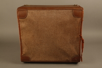 2018.426.2 back Brown cloth and leather trimmed suitcase used by an American internee  Click to enlarge