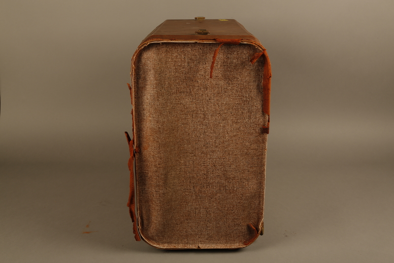 2018.426.2 right Brown cloth and leather trimmed suitcase used by an American internee