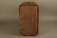 2018.426.2 left Brown cloth and leather trimmed suitcase used by an American internee  Click to enlarge