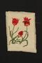 Framed needlepoint tulips made prewar in the Eisiskes shtetl