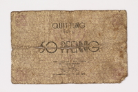 1992.179.1 front Łódź ghetto scrip, 50 pfennig note  Click to enlarge