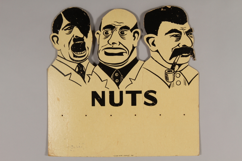 2015.224.17 front Nuts! to leaders sign with image of Hitler, Mussolini, and Stalin