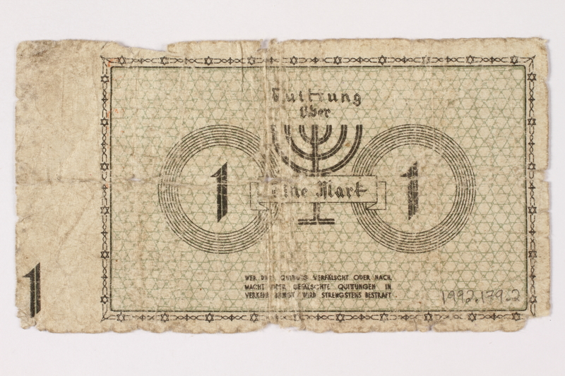 1992.179.2 back Łódź (Litzmannstadt) ghetto scrip, 1 mark note