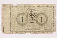 1992.179.2 back Łódź (Litzmannstadt) ghetto scrip, 1 mark note  Click to enlarge