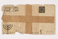 1992.179.3 back Lodz ghetto scrip, 5 mark note  Click to enlarge