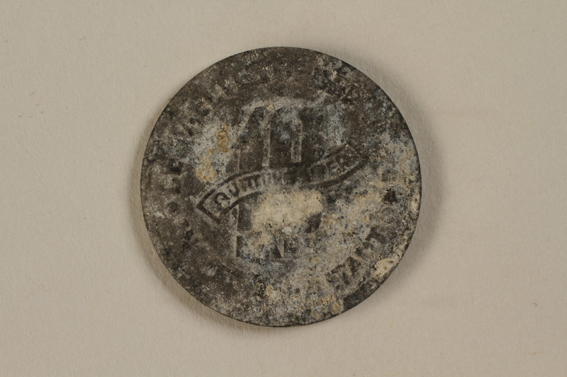 1992.179.4 back Łódź (Litzmannstadt) ghetto scrip, 10 mark coin