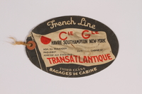 2015.175.2 front Luggage tag for the US used by a Jewish refugee from Vienna  Click to enlarge