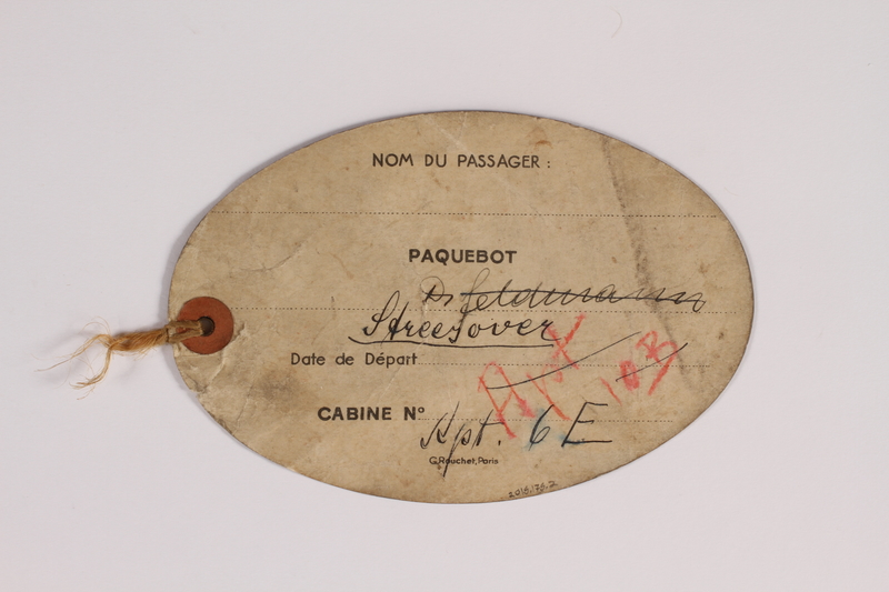 2015.175.2 back Luggage tag for the US used by a Jewish refugee from Vienna